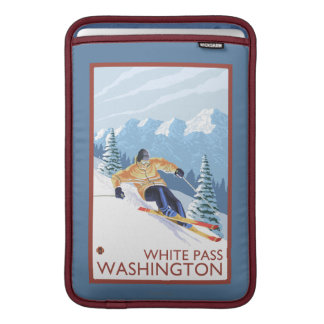 Downhhill snöSkier - vit passerar, Washington Sleeve För MacBook Air
