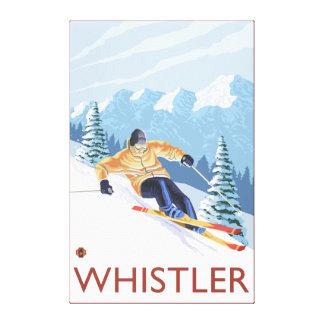 Downhhill snöSkier - Whistler, BC Kanada Canvastryck
