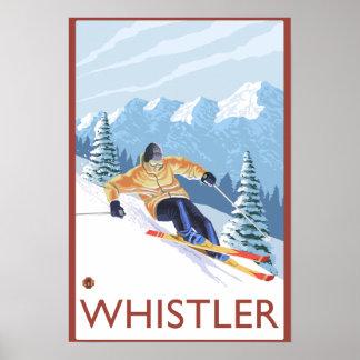 Downhhill snöSkier - Whistler, BC Kanada Poster