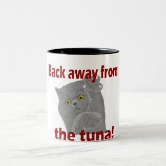 Dra tillbaka i väg från tonfiskkatt Två-Tonad mugg