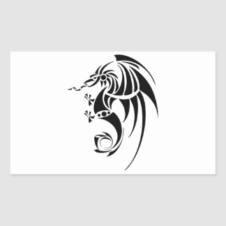Dragissous V1 - svart drake Rektangulärt Klistermärke
