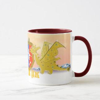 Drakar är här den tecknadKawaii draken Mugg