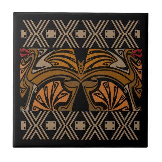 Drakar för vintageart nouveaubrunt keramiska plattor