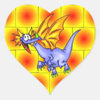 Drake i flyg hjärtformat klistermärke