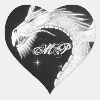 Drake på nattmålning hjärtformat klistermärke