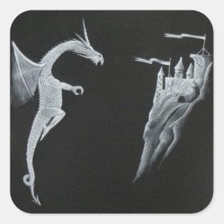 Drake- & slottklistermärkear fyrkantigt klistermärke