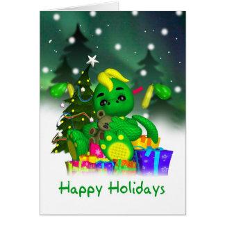 Drakejulkort - gullig grön drake med Gif Hälsningskort