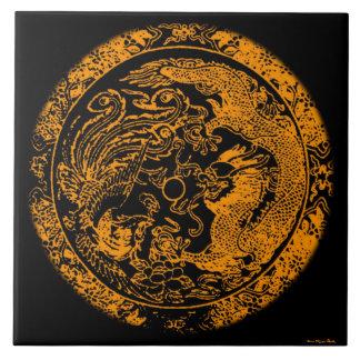 Draken och Phoenix belägger med tegel Stor Kakelplatta