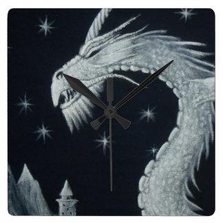 Draken på nattväggen tar tid på fyrkantig klocka