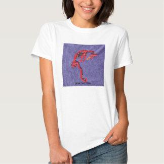 Draken pryder med pärlor Denimbroderitrycket T Shirt