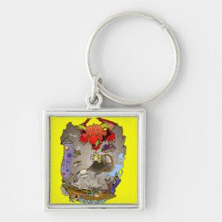 Draketrollkarlkeychain Fyrkantig Silverfärgad Nyckelring