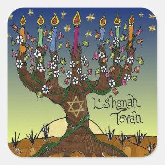 Dräkt för Judaica L'shanah Tovah livets trädgåvor Fyrkantigt Klistermärke