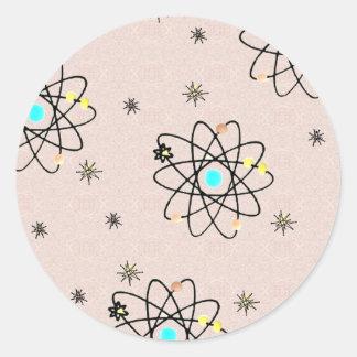 Dräkt & gåvor för Retro tryck för 50-tal atom- Runt Klistermärke