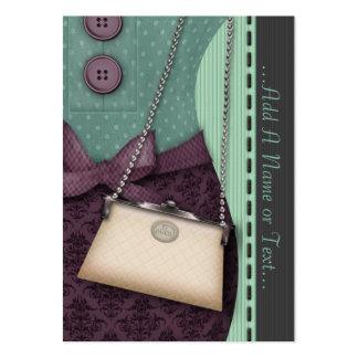 Dräkt och handväska för gullig Boutique Retro Visitkort Mallar