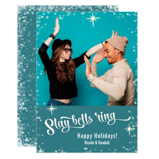 Dräpa fotoet för helgdag för den Klockor ringen 12,7 X 17,8 Cm Inbjudningskort