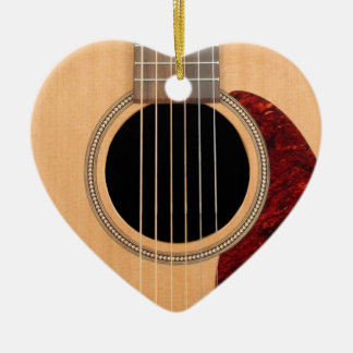 Dreadnought akustisk sex stränger gitarren hjärtformad julgransprydnad i keramik