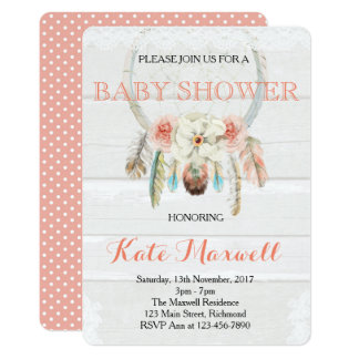 Dreamcatcher Boho baby showerinbjudan 12,7 X 17,8 Cm Inbjudningskort