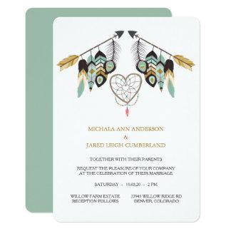 Dreamcatcher för krickafjäderpil bröllop 12,7 x 17,8 cm inbjudningskort