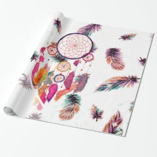 Dreamcatcher för MonogramHipstervattenfärg fjädrar Presentpapper