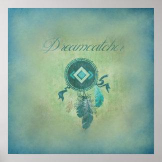 Dreamcatcher på en dimmig grön bakgrund poster