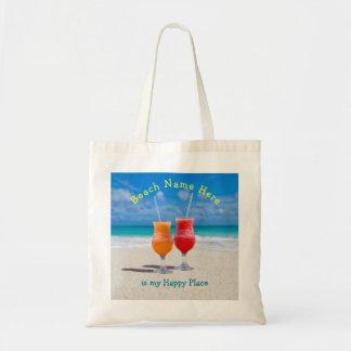 Drinkar på toto för ställe för strandpersonlig tygkasse