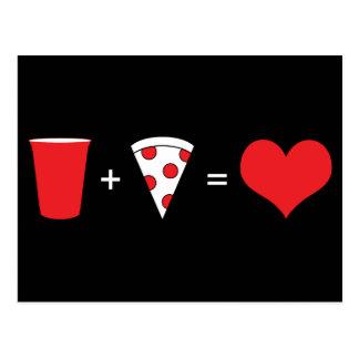drinkar + pizza = kärlek vykort