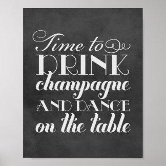 Drinkchampagne och dans | som gifta sig, poster