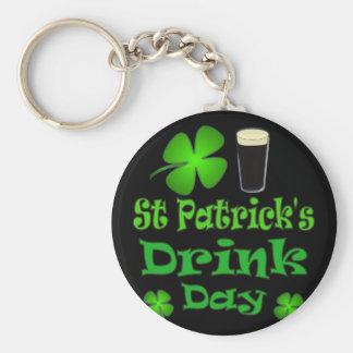 Drinkdag för St Patricks - I-förmiddagirländare Rund Nyckelring