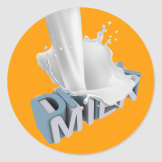 Drinkmjölk! 3D Runt Klistermärke