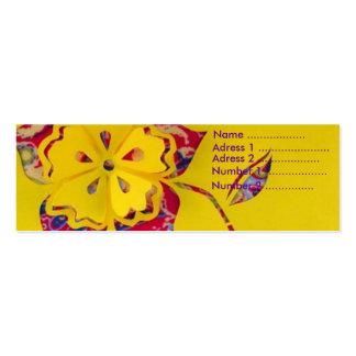 Driva blomman set av smala visitkort