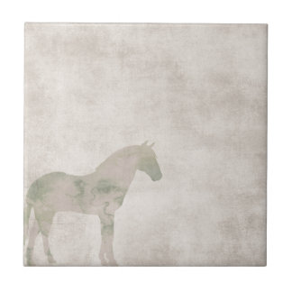 Dröm- häst: Vattenfärghästen dammar av på brunt Liten Kakelplatta