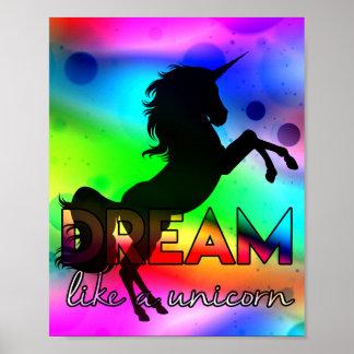 Dröm- något liknande en Unicorn! - Ljus färgrik Poster