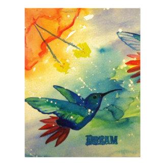 Dröm- stort! Hummingbirdvattenfärgmålning Brevhuvud