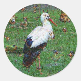 Dröm- varelser, Stork, DeepDream Runt Klistermärke