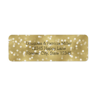 Drömlika guld- Bokeh konfettiar Returadress Etikett