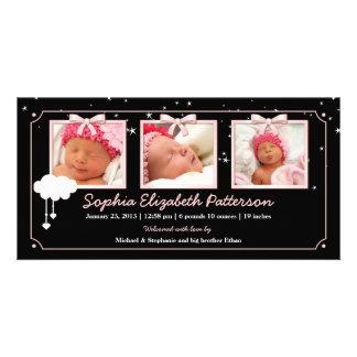 Drömlikt för fotobaby för stjärnor tre meddelande  fotokort