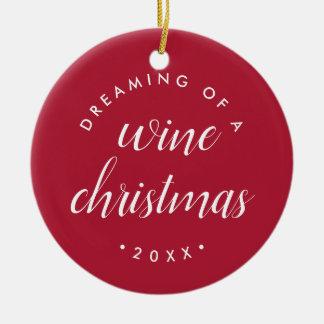 Drömma av ett vinjulfoto julgransprydnad keramik