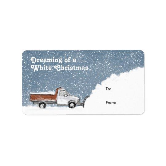 Drömma av märkre för en gåva för vitjulsnöplog adressetikett