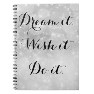 Drömma det fotoanteckningsboken anteckningsbok med spiral