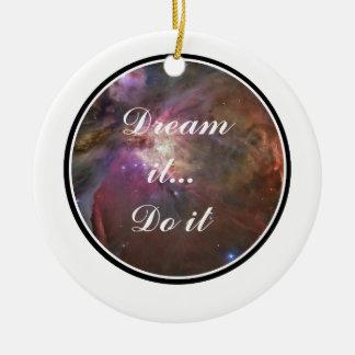 Drömma det, gör det - utrymme julgransprydnad keramik