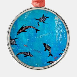 Drömma för delfin julgransprydnad metall