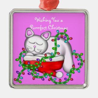 Drömma för kattunge av julprydnaden julgransprydnad metall