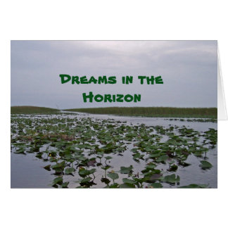Drömmar i kortet för horisontliljavatten långt hälsningskort