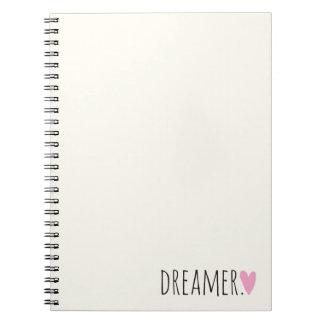 Drömmare med hjärta anteckningsbok med spiral