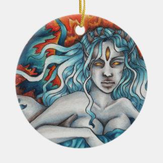 Drömmaren av det evigt avfyrar rundaprydnaden julgransprydnad keramik