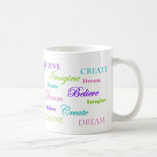 Drömmen föreställer för att skapa tro kaffemugg