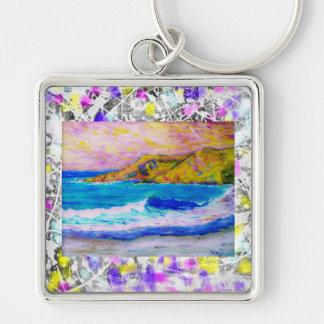 droppande för laguna strandstänk fyrkantig silverfärgad nyckelring