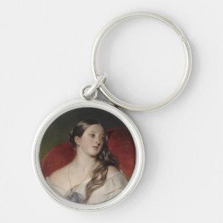 Drottning Victoria Rund Silverfärgad Nyckelring