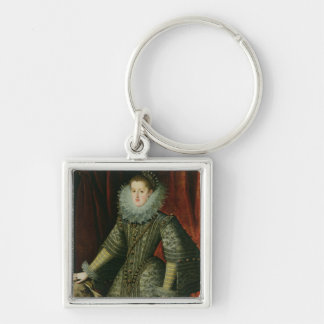 Drottningmargarita av Österrike, 1609 (olja på kan Fyrkantig Silverfärgad Nyckelring