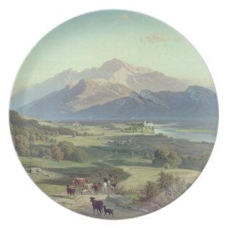 Drover på hästrygg med hans nötkreatur i en Mounta Tallrik